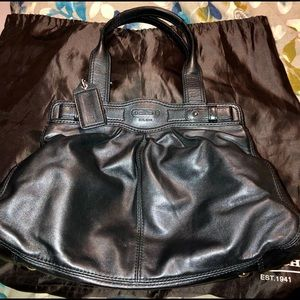 Black leather coach